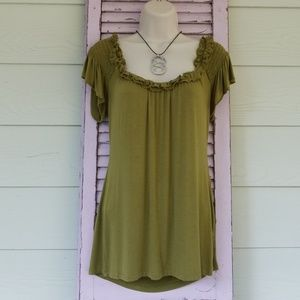 BANANA REPUBLIC Olive Green SS Peasant Style Top M